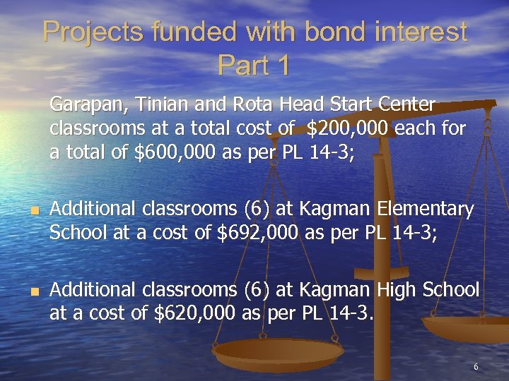 Projects funded with bond interest Part 1 Garapan, Tinian and Rota Head Start Center