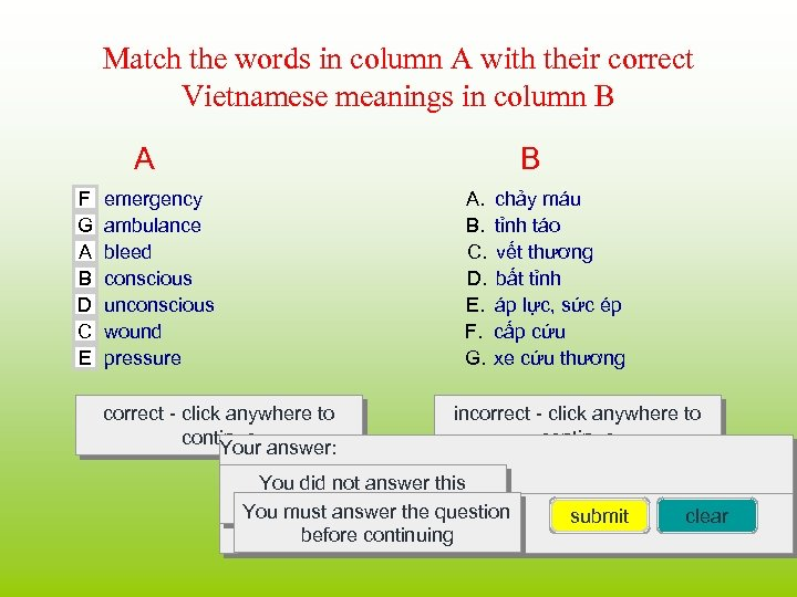 Match the words in column A with their correct Vietnamese meanings in column B