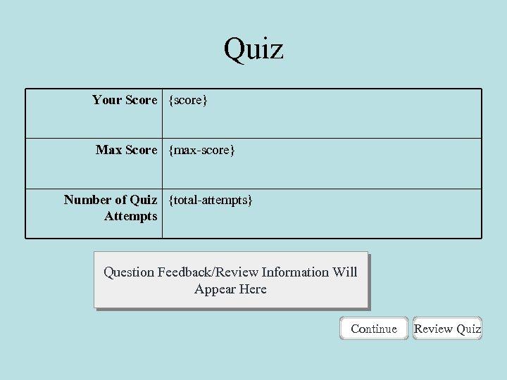 Quiz Your Score {score} Max Score {max-score} Number of Quiz {total-attempts} Attempts Question Feedback/Review