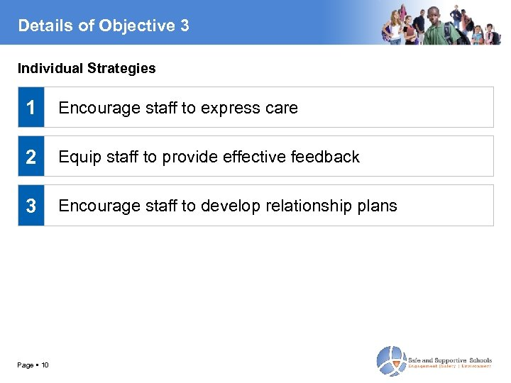 Details of Objective 3 Individual Strategies 1 Encourage staff to express care 2 Equip