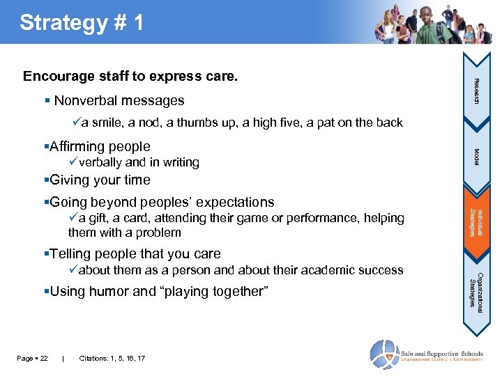Strategy # 1 Nonverbal messages Research Encourage staff to express care. üa smile, a
