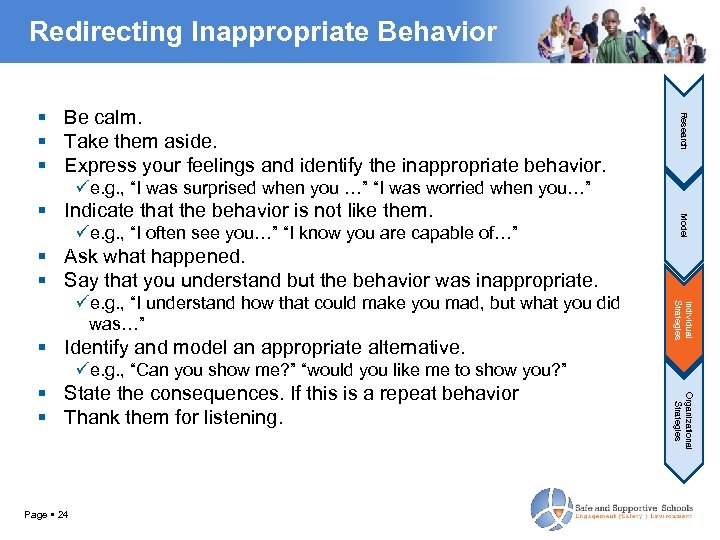 Redirecting Inappropriate Behavior Research Be calm. Take them aside. Express your feelings and identify