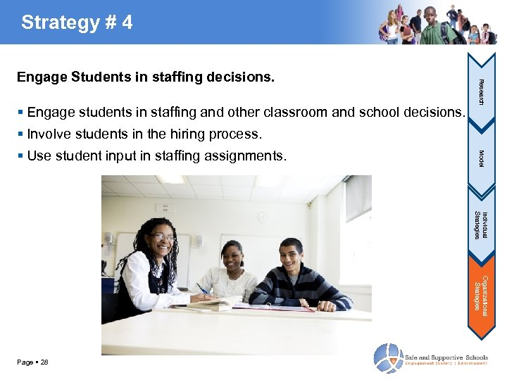 Strategy # 4 Engage students in staffing and other classroom and school decisions. Research