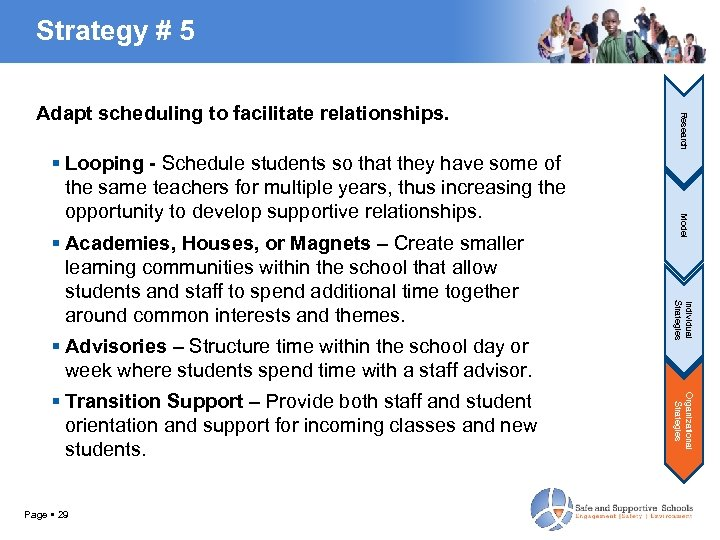Strategy # 5 Advisories – Structure time within the school day or week where