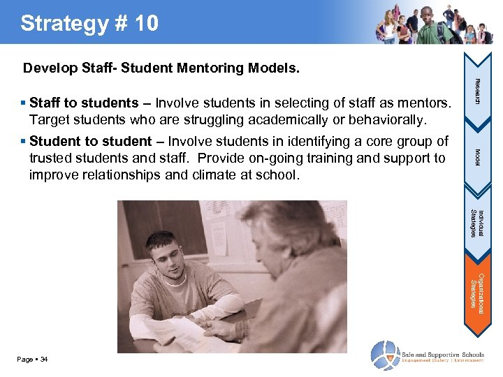 Strategy # 10 Develop Staff- Student Mentoring Models. Model Student to student – Involve