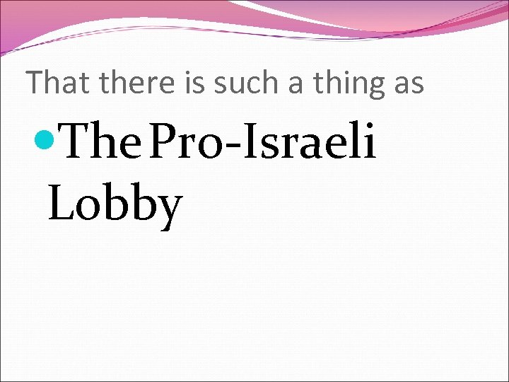 That there is such a thing as The Pro-Israeli Lobby