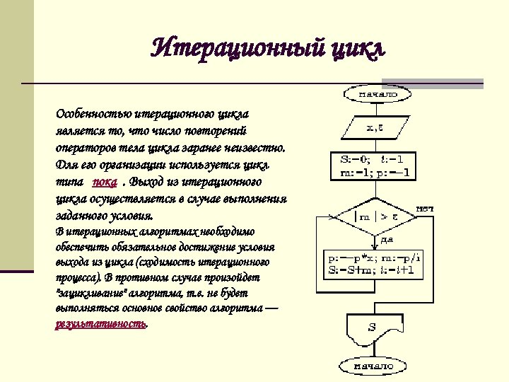 Итерационный цикл Особенностью итерационного цикла является то, что число повторений операторов тела цикла заранее
