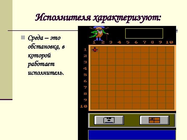 Исполнителя характеризуют: n Среда – это обстановка, в которой работает исполнитель.