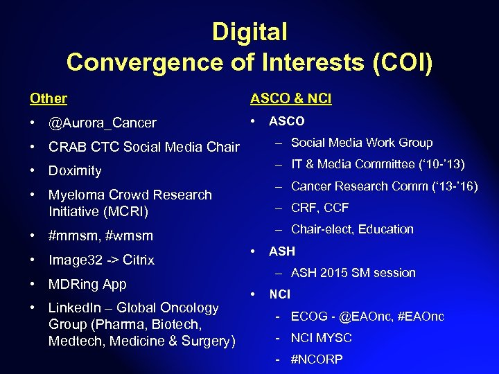 Digital Convergence of Interests (COI) Other ASCO & NCI • @Aurora_Cancer • ASCO •