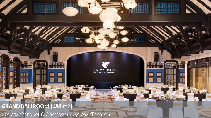 GRAND BALLROOM (688 m 2) 420 pax (Banquet & Classroom), 750 pax (Theater)