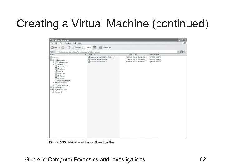 Creating a Virtual Machine (continued) Guide to Computer Forensics and Investigations 82
