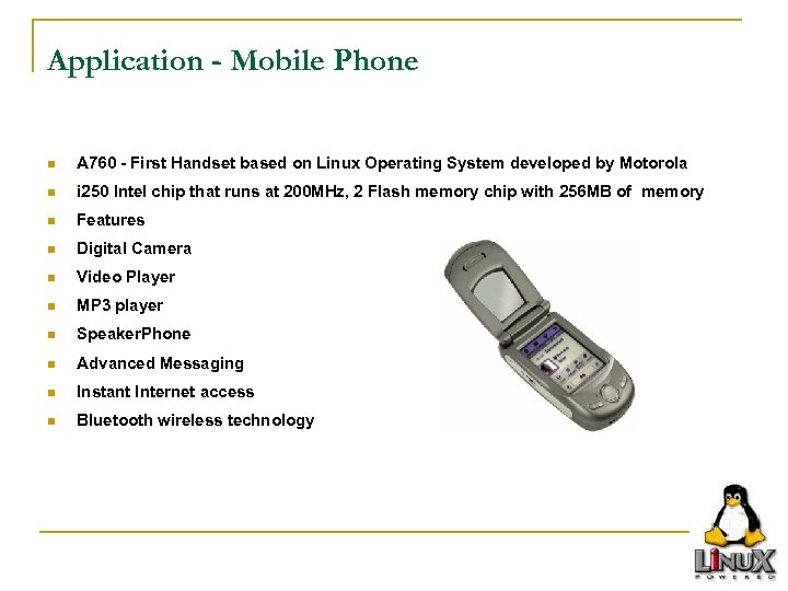 Application - Mobile Phone n A 760 - First Handset based on Linux Operating