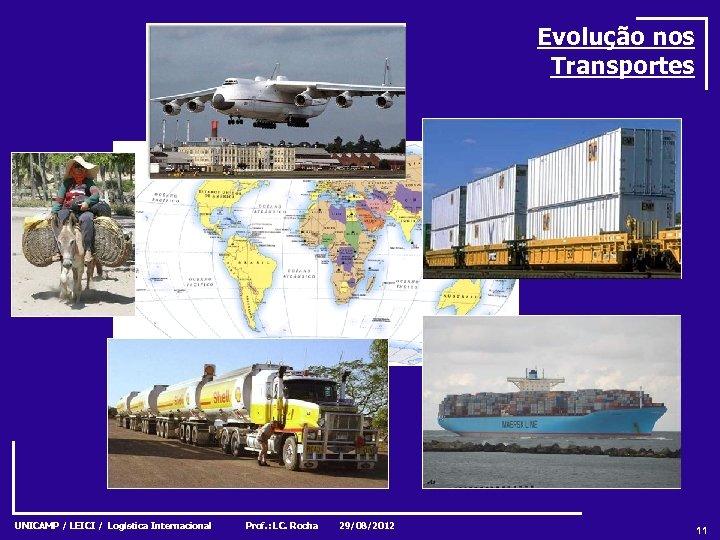 Evolução nos Transportes UNICAMP / LEICI / Logística Internacional Prof. : LC. Rocha 29/08/2012