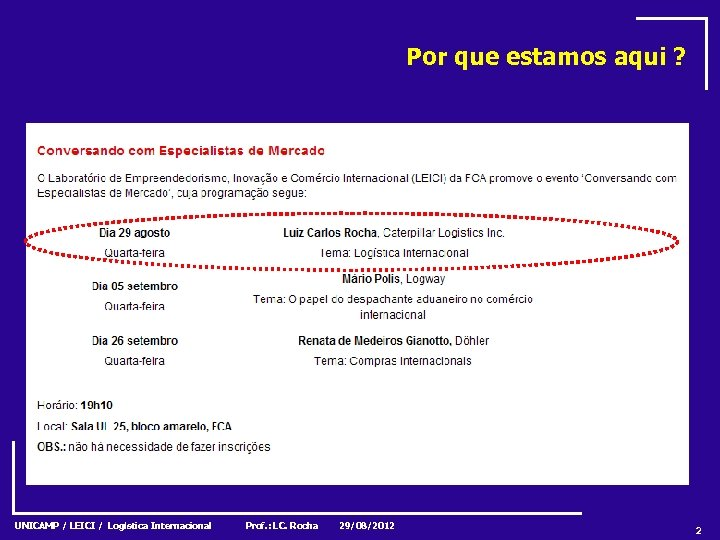 Por que estamos aqui ? UNICAMP / LEICI / Logística Internacional Prof. : LC.