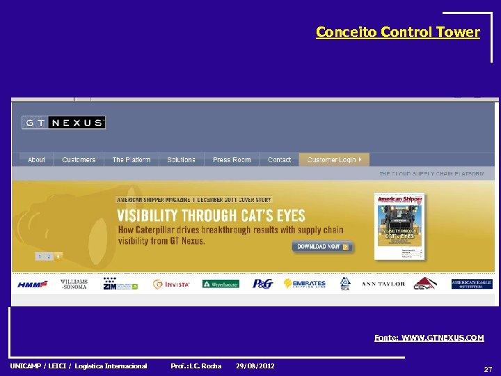 Conceito Control Tower Fonte: WWW. GTNEXUS. COM UNICAMP / LEICI / Logística Internacional Prof.