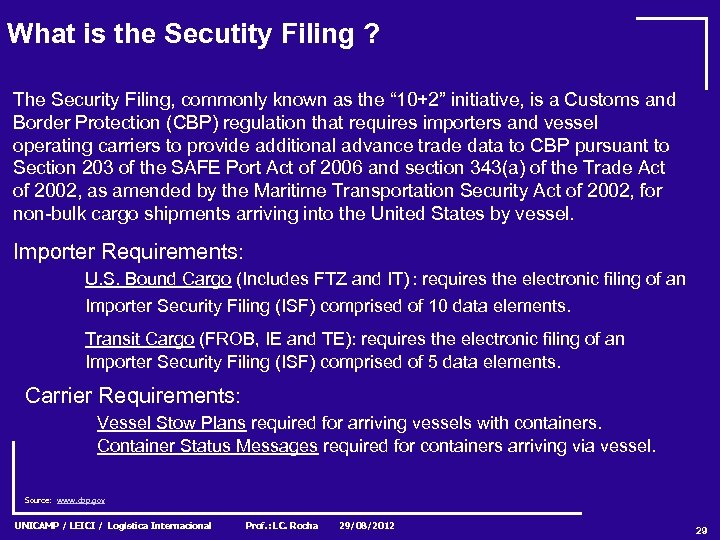 What is the Secutity Filing ? The Security Filing, commonly known as the ""