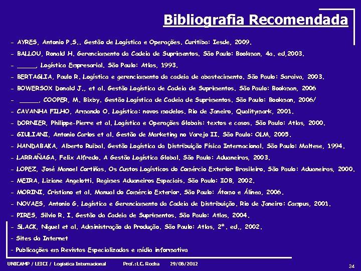 Bibliografia Recomendada - AYRES, Antonio P. S. . Gestão de Logística e Operações. Curitiba: