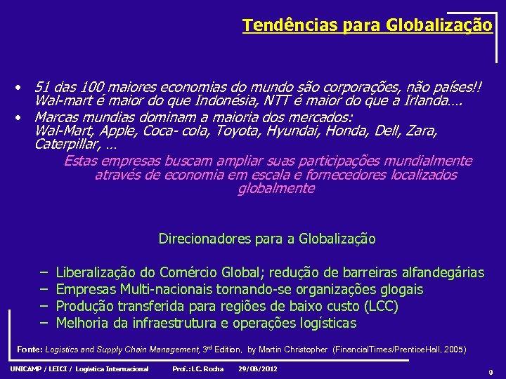Tendências para Globalização • 51 das 100 maiores economias do mundo são corporações, não