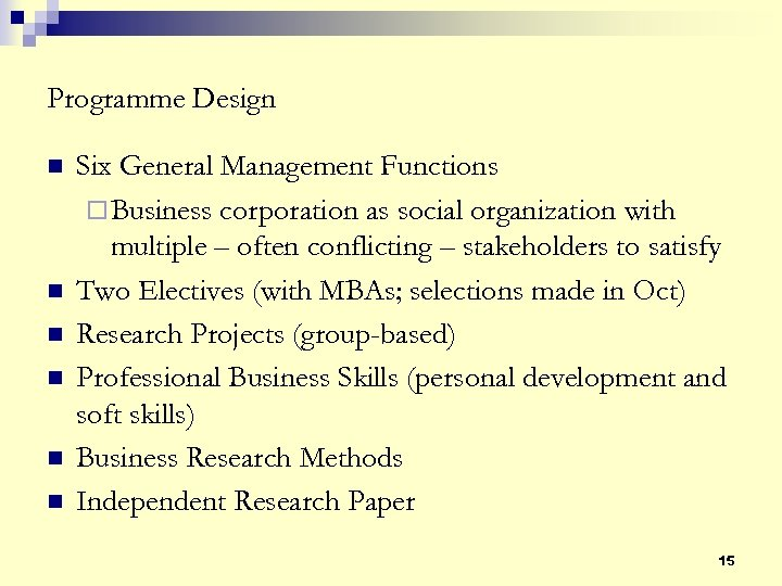 Programme Design n n n Six General Management Functions ¨ Business corporation as social