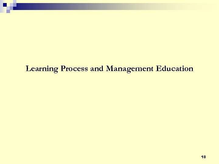Learning Process and Management Education 18