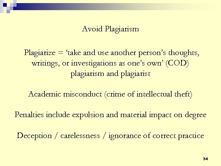 Avoid Plagiarism Plagiarize = 'take and use another person's thoughts, writings, or investigations as