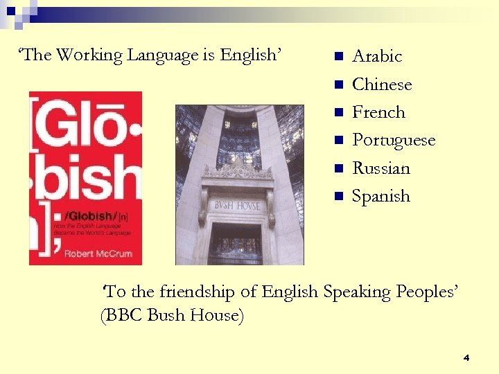 'The Working Language is English' n n n Arabic Chinese French Portuguese Russian Spanish