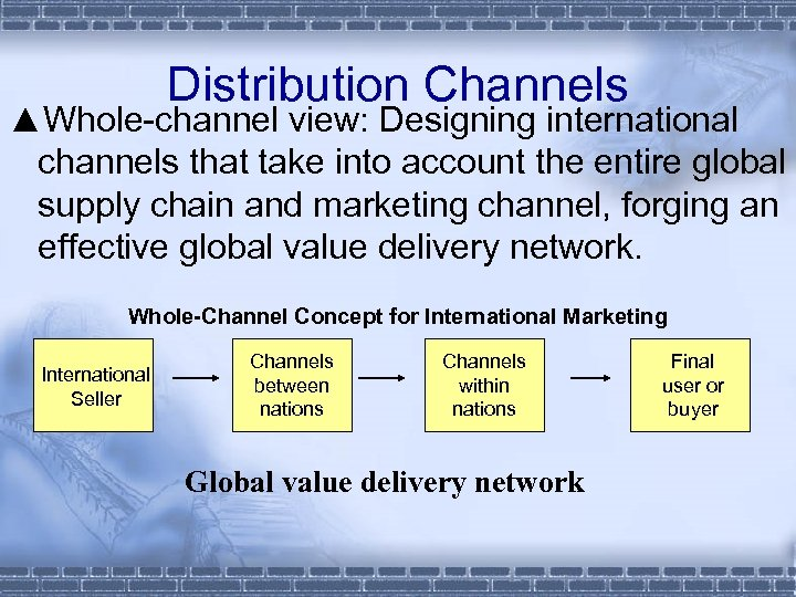 Distribution Channels ▲Whole-channel view: Designing international channels that take into account the entire global