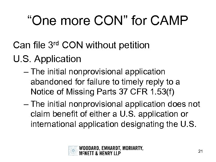 """One more CON"" for CAMP Can file 3 rd CON without petition U. S."