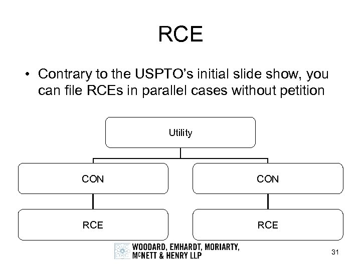 RCE • Contrary to the USPTO's initial slide show, you can file RCEs in