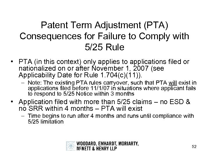Patent Term Adjustment (PTA) Consequences for Failure to Comply with 5/25 Rule • PTA