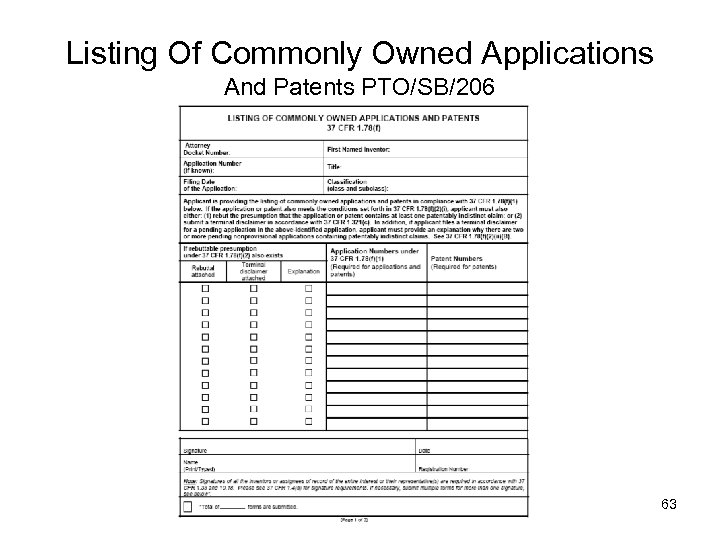 Listing Of Commonly Owned Applications And Patents PTO/SB/206 63