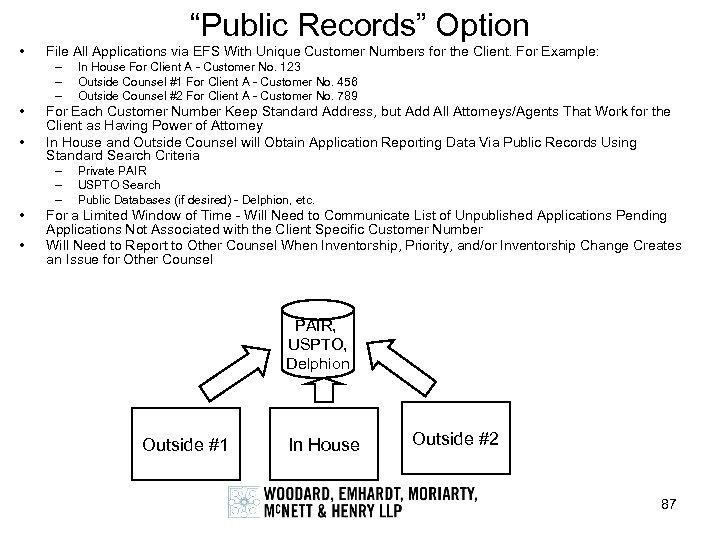 """Public Records"" Option • File All Applications via EFS With Unique Customer Numbers for"