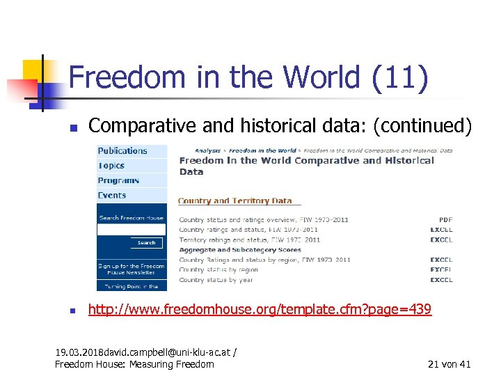 Freedom in the World (11) n Comparative and historical data: (continued) n http: //www.