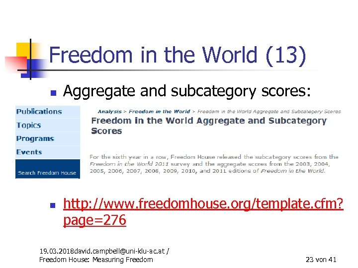 Freedom in the World (13) n n Aggregate and subcategory scores: http: //www. freedomhouse.