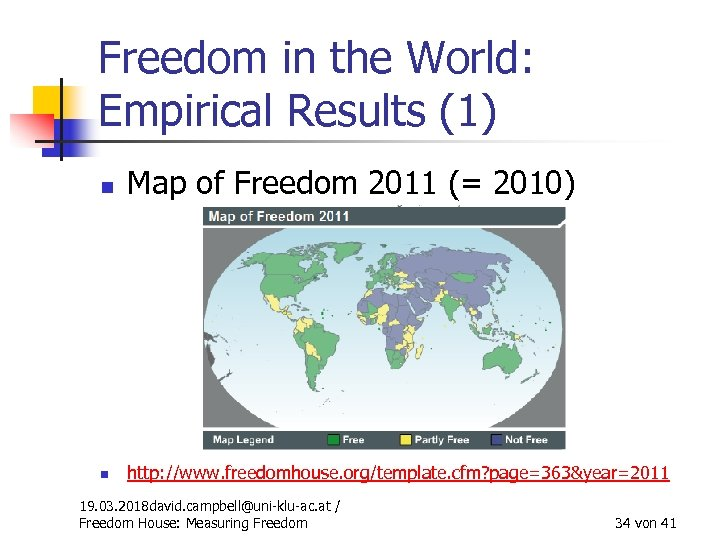 Freedom in the World: Empirical Results (1) n Map of Freedom 2011 (= 2010)