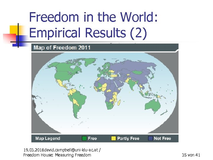 Freedom in the World: Empirical Results (2) 19. 03. 2018 david. campbell@uni-klu-ac. at /