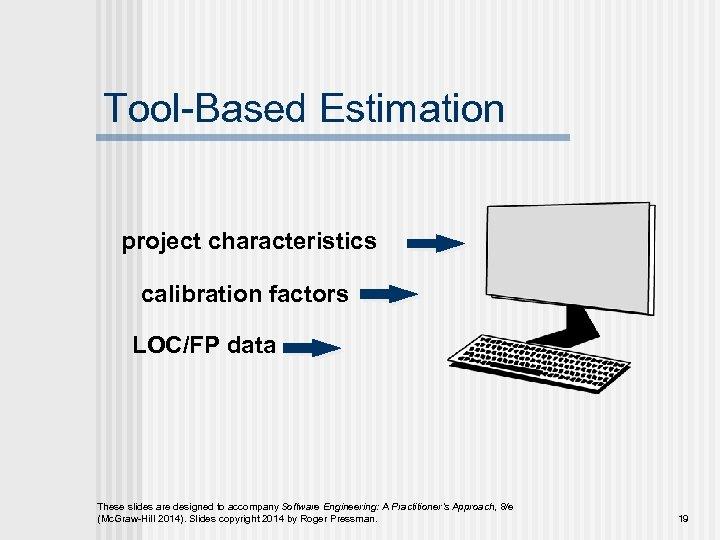 Tool-Based Estimation project characteristics calibration factors LOC/FP data These slides are designed to accompany