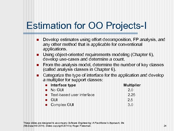 Estimation for OO Projects-I n n Develop estimates using effort decomposition, FP analysis, and