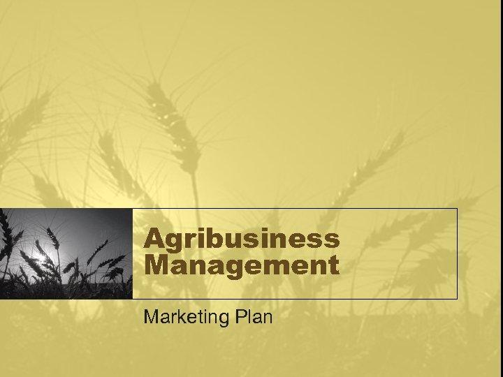 Agribusiness Management Marketing Plan