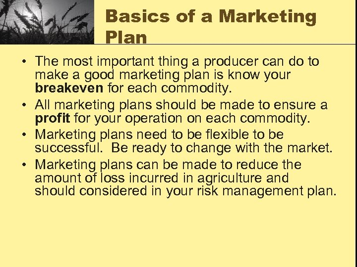 Basics of a Marketing Plan • The most important thing a producer can do