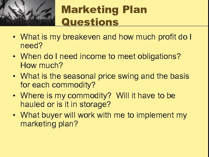 Marketing Plan Questions • What is my breakeven and how much profit do I