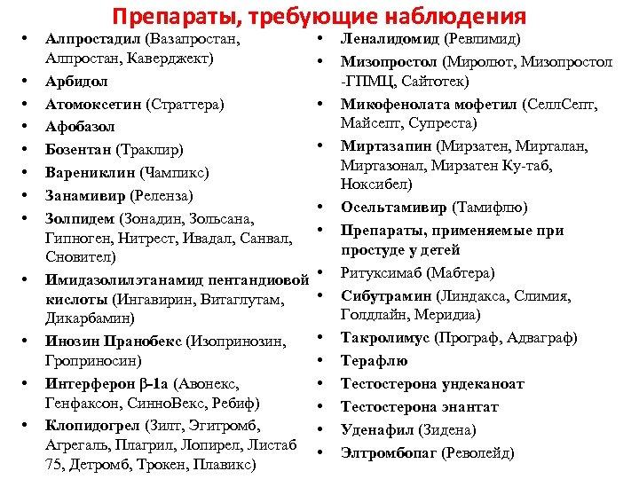 • • • Препараты, требующие наблюдения • (Ревлимид) Алпростадил (Вазапростан, Леналидомид (Миролют, Мизопростол