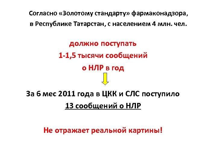 Согласно «Золотому стандарту» фармаконадзора, в Республике Татарстан, с населением 4 млн. чел. должно поступать