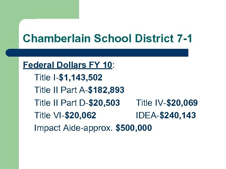 Chamberlain School District 7 -1 Federal Dollars FY 10: Title I-$1, 143, 502 Title