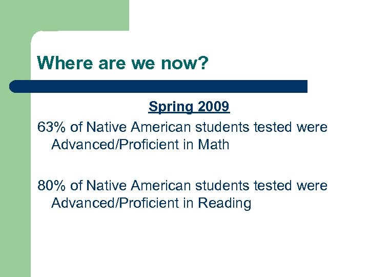 Where are we now? Spring 2009 63% of Native American students tested were Advanced/Proficient