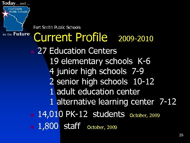 Fort Smith Public Schools Current Profile n n n 2009 -2010 27 Education Centers