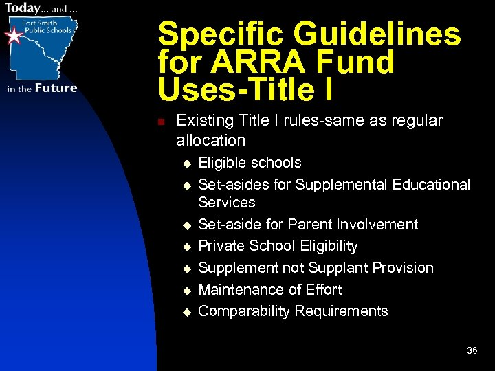 Specific Guidelines for ARRA Fund Uses-Title I n Existing Title I rules-same as regular