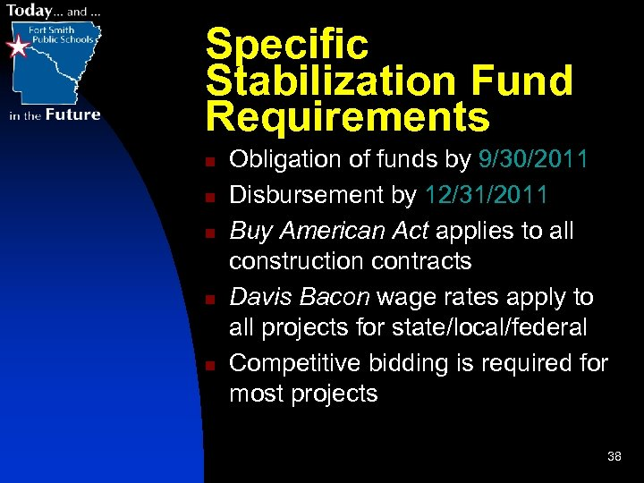 Specific Stabilization Fund Requirements n n n Obligation of funds by 9/30/2011 Disbursement by