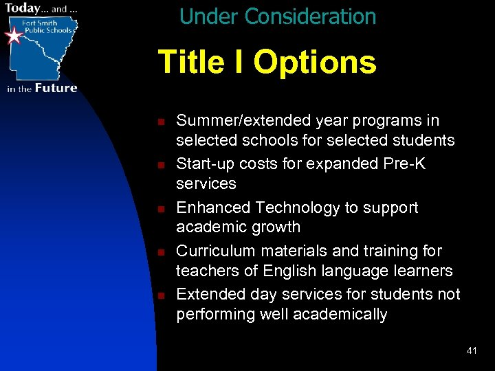 Under Consideration Title I Options n n n Summer/extended year programs in selected schools