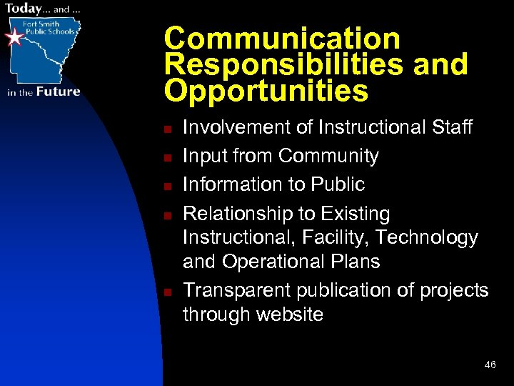 Communication Responsibilities and Opportunities n n n Involvement of Instructional Staff Input from Community